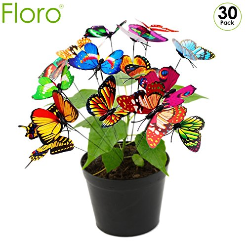 Metal Stake Garden 3d (Butterfly Stakes - Pack of 30 - For Decorating Flower Pots - Delightful Flower Beds - Beautiful Decorative Garden Stakes, Outdoor Yard Planter - Multicolored 3D Wings - Can be Pushed Open or Closed)