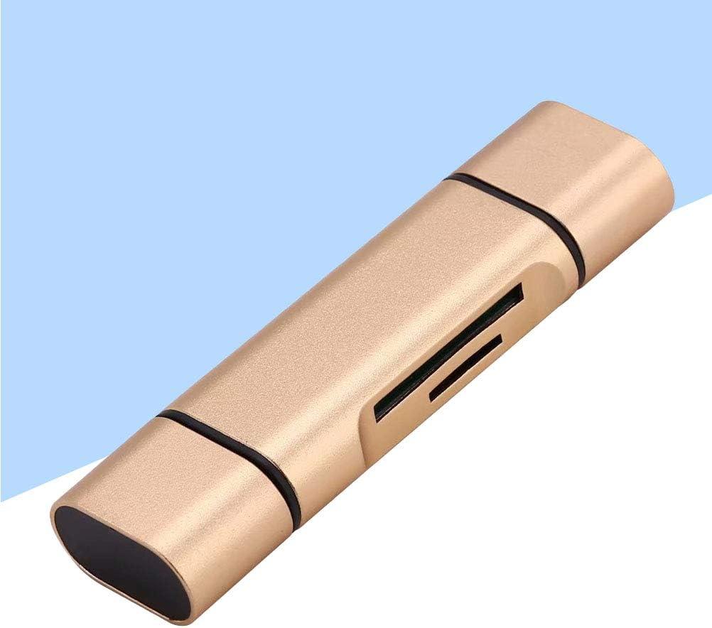 Hemobllo Card Reader Two-Way Card Reader USB Type-C Reader for Phone Golden