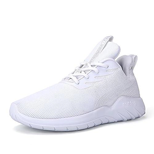 Soulsfeng Sneakers Zapatos Deportivos para Mujer Zapatos con Cordones Correas Amortiguación Malla transpirable Tela Zapatos Planos Negros y Rojos(gris 45EU) 5WQDNU