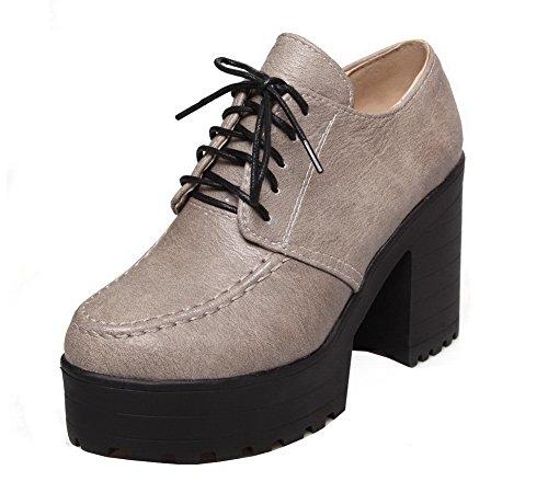 Lacet Gris Couleur Unie Haut Pu Femme Rond Aalardom Chaussures Légeres À Cuir Talon 8Y6gOx