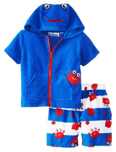 Wippette Little Boys' Toddler Crabby Two Piece Swimwear Coverup Set, Royal, 3T