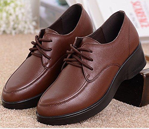 GTVERNH-Otoño Invierno Las Laderas Con Zapatos De Mujer De Mediana Edad Con Zapatos De Cuero Suave La Madre Antiguas De Zapatos De Mujer The wine is red