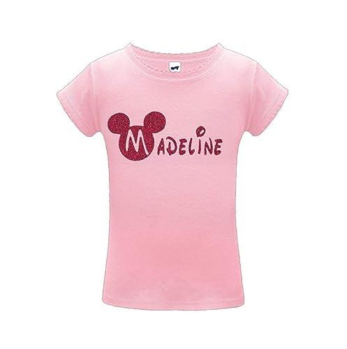 d7d0fbbc539e Amazon.com: Pink Glitter Disney Custom Name Shirt - Mickey Minnie: Handmade