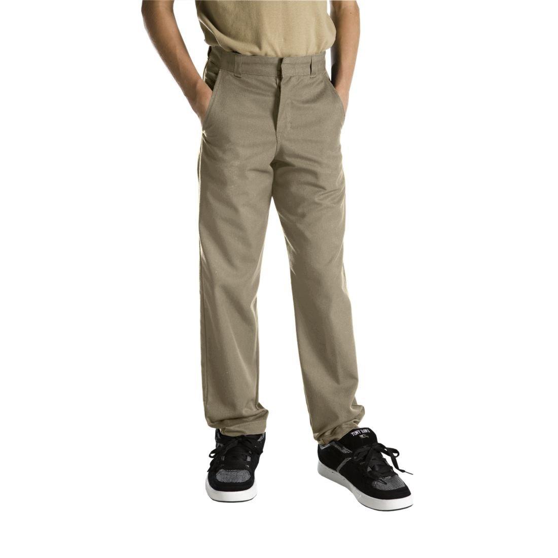Dickies Husky Boys Flat Front Pant, Khaki, 16 Husky / 32.5'' x 31''