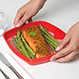 Sistema Microwave Collection Plate with Removable Steaming Rack, Medium, 29.7 oz./0.9 L, Red