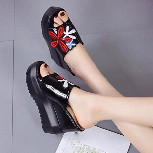 Voberry Sandalen, Frauen Dick-Bottom Schräge Hausschuhe Bestickt Hochhackige Keile Plateau Schuhe Schwarz