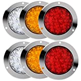 Round LED Trailer Tail Lights with Stainless Steel Chrome Ring for Trailer Truck,Red+Amber+White 5.5 inches 16LED Turn/Brake/Reverse/Backup/Tail Lights (6Pcs)