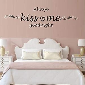iofjs Always Kiss Me Goodnight Quote Wall Sticker Love Decals Calligraphy Art Home Decor Bedroom Vinyl Wall Kids Rooms Decor Murals Size 59 29Cm
