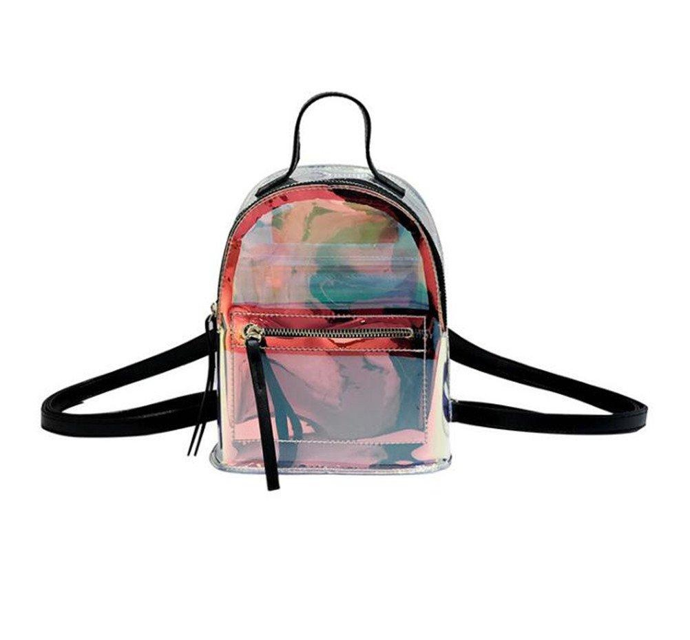 Santwo Women's Mini Rivets Waterproof PU Leather Shoulder Bag Casual Daypack Backpack (D-black(Transparent Laser PVC Backpack))