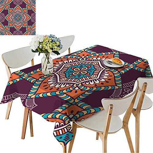 UHOO2018 Spillproof Fabric Tablecloth Seamless Pattern Vintage Decorative Elements Hand Drawn Background Islam,Arabic, Square/Rectangle Washable Polyester,52 x 108inch - Clock Arabic Square