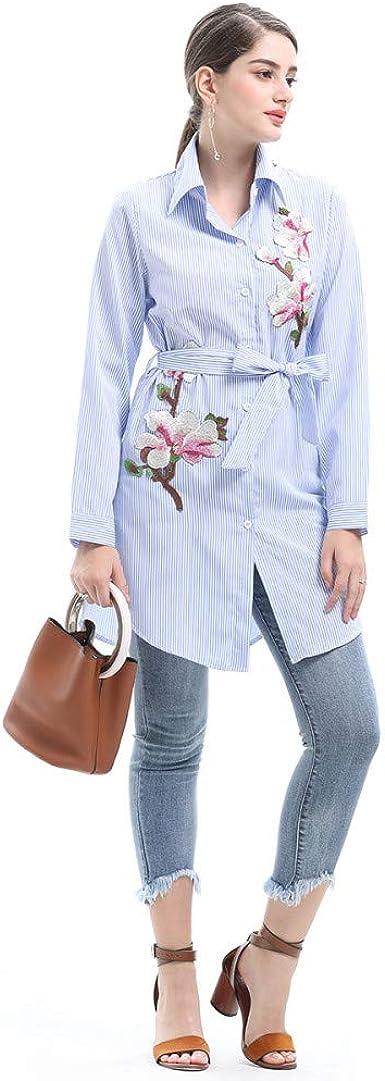 Cnsdy Camisas para Mujeres Temperamento Camisas largas ...