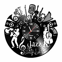 Music Clock - Music Vinyl Wall Clock - Music Jazz Wall Clock Musical Instrument Music Theme Timelike Vinyl Record Violin Jazz Wall Art Home Room Decor Unique Clocks Music Musician Gift Vinyl Black
