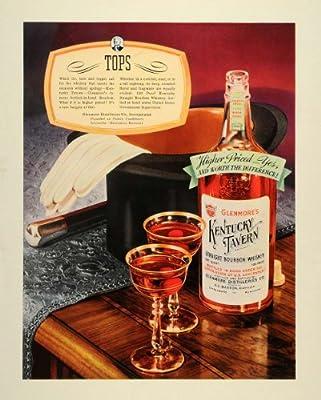 1938 Ad Glenmore Kentucky Tavern Bourbon Whiskey Glassware Top Hat Bottle Gloves - Original Print Ad