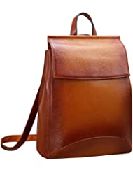 Heshe Womens Leather Backpack Casual Style Flap Backpacks Daypack for Ladies
