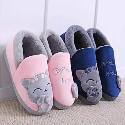 Warm JadeRich Soft Fleece Slippers Black Plush House Cute Boot Cat rUwpqXPU