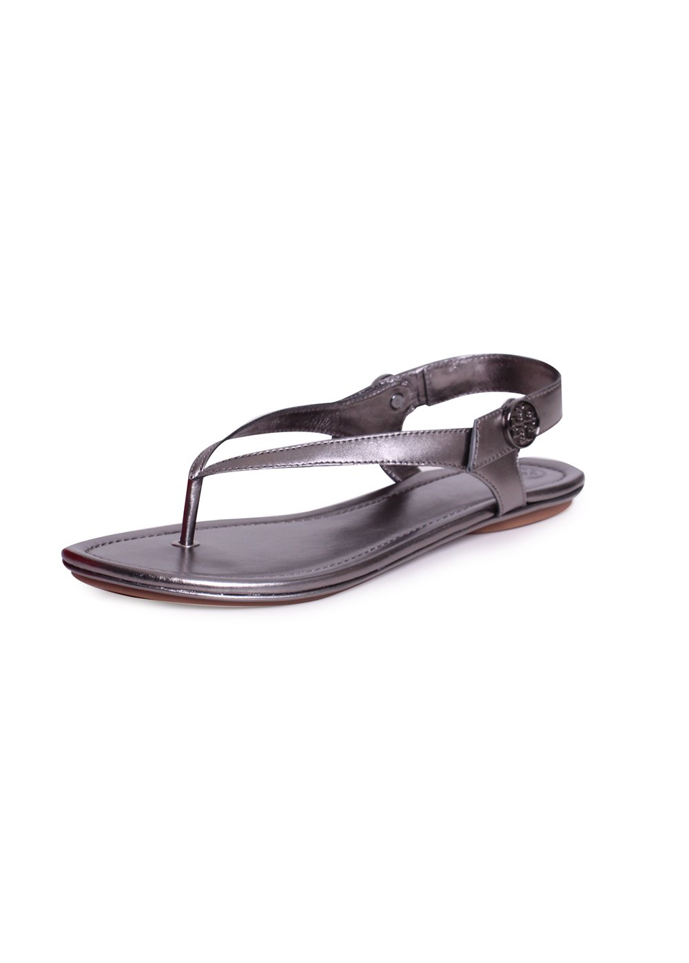 Tory Burch Minnie Travel Metallic Leather Sandals in Gunmetal 021 Size 8.5