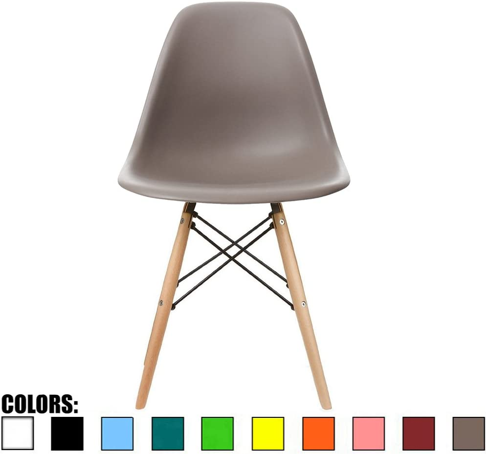 2xhome – Grey Taupe – Modern Side Accent Chair Natural Wood Legs Eiffel Wire Armless Dining Room Chair No arm