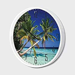 RWNFA Non Ticking Wall Clock Silent with Metal Frame HD Glass Cover,Ocean Decor,Maldives Bay Summer Pacific Holiday Destinations Decorative,for Office,Bedroom,16inch