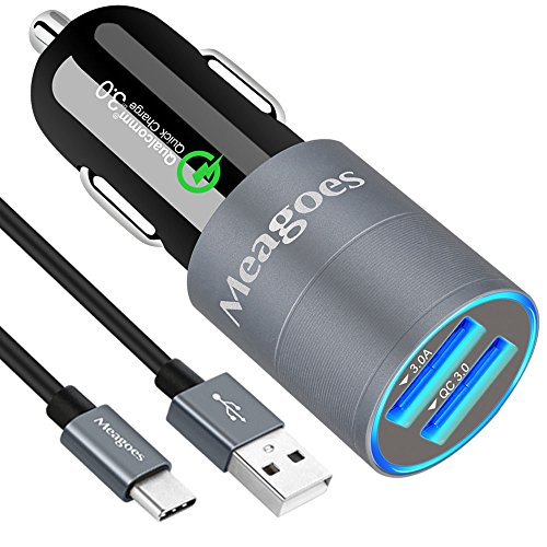 Meagoes Quick Charge 3.0 USB Type C Car Charger with 1-Pack USB C Cord, for Samsung Galaxy S9 S8 S8 Plus, Note 8, LG V30 V20 G6 G5, HTC 10 U11 Bolt Ultra, Sony Xperia XZ and More Android Phones (12v Car Type Plug Adapter)