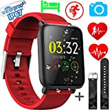 Xenzy Waterproof Smart Watch Men Women Fitness Tracker Heart Rate Monitor Blood Pressure Calorie Pedometer Sleep Sport Activity Tracker Swimming Wristband Health Smart Watch Android iOS (red)