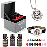 Aromatherapy Essential Oils Gift Set, Top 6 100% Pure Essential Oils (10ML), Diffuser Necklace with Bracelet (Mandala Pattern) and 3 Red Rose Decoration Flower, Perfect Gifts for Women