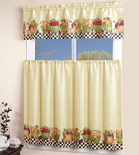 California Drapes 3PC Printed Kitchen Curtain, 1 Tailored Valance, 2 Tiers, Window Treatment Set (Fruit Basket)