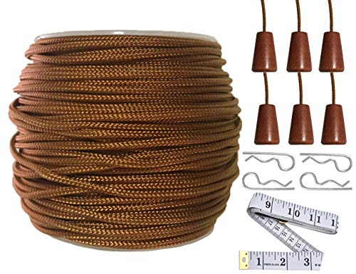 Y-Axis Roll of 60 Yards 2.0mm Light Brown (Bronze) Braided Nylon Lift Shade Cord with 6 Pack Brown Wood Cord Knobs + Soft Tape