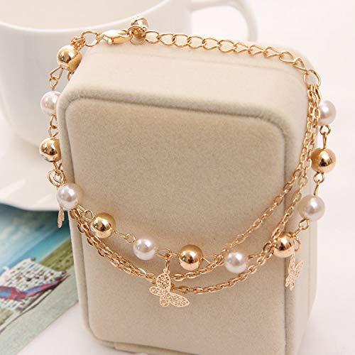 - Aggenix Store Bracelet 2018 Gold Color Multilayer Beaded Pendant Bracelets and Bangles Fashion Women Heart Butterfly Charm Bracelet Jewelry Accessories 40 (2 pcs)