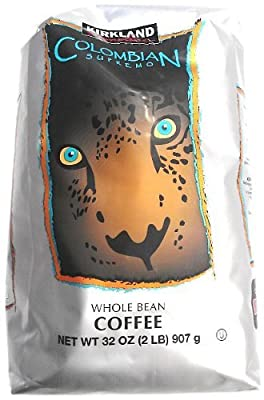 Kirkland Signature Colombian Supremo Whole Bean Coffee 2 Lb. Medium Roast (2 Pack)