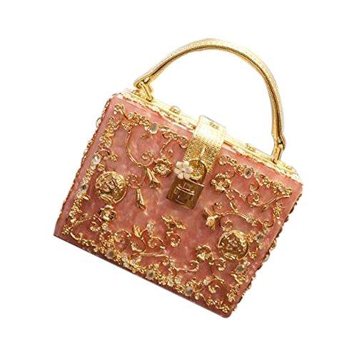 Evalent Women's Elegant Rhinestone Flower Acrylic Box Evening Clutch Pearl Beaded Wedding Cocktail Evening Handbag (Pink)