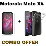 M.G.R.J Tempered Glass + Transparent Back Cover for Motorola Moto X4