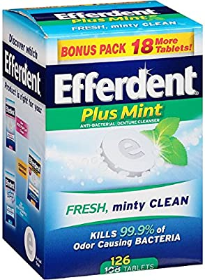Efferdent Plus Mint Anti-Bacterial Denture Cleanser Tablets 126 ea