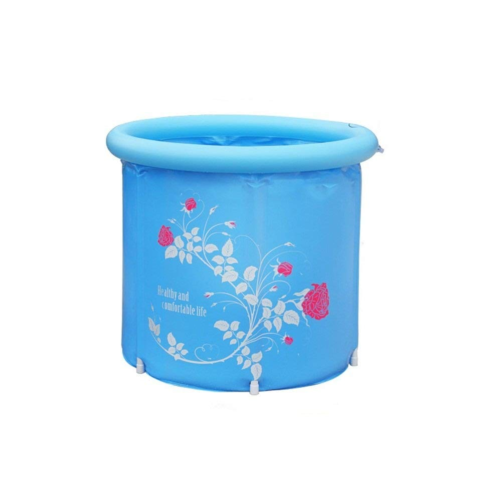 Folding Bathtub, Plastic Bathtub Inflatable Bathtub, Thicken Bathtub Adult Bathtub, PVC GAOFENG (Color : Blue, Size : 7575cm)