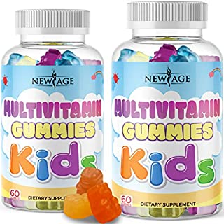 (2-Pack) Daily Gummy Multivitamin for Kids, Immune & Energy Support, Delicious Fresh Kids Complete Daily Multivitamin Essential Vitamins A, B, C, D, E, by New Age - 120 Gummies