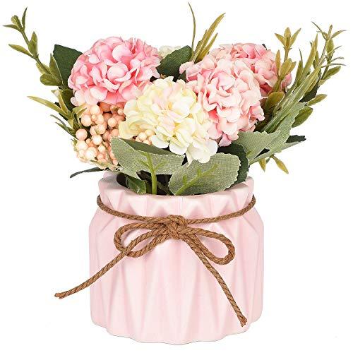 (Artificial Hydrangea Flower Potted Artificial Plants,Hydrangea Silk Flowers with Ceramic Geometric Planter,Artificial Flower Bonsai for Living Room, Desk,Office, Shelf Decor(Pink))