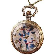 Infinite U Vintage Blue Butterfly/Dragonfly Big Quartz Pocket Watch Roman Numerals Bronze