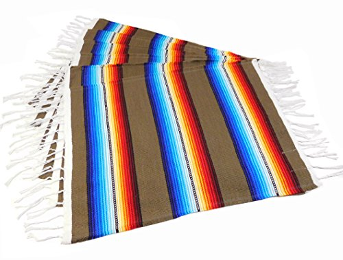 Colorful Fringed Mexican Serape Place Mats Designed in Traditional Mexican Serape Blanket Material. Set of 6 Placemats (Taupe) - Fringed Placemat