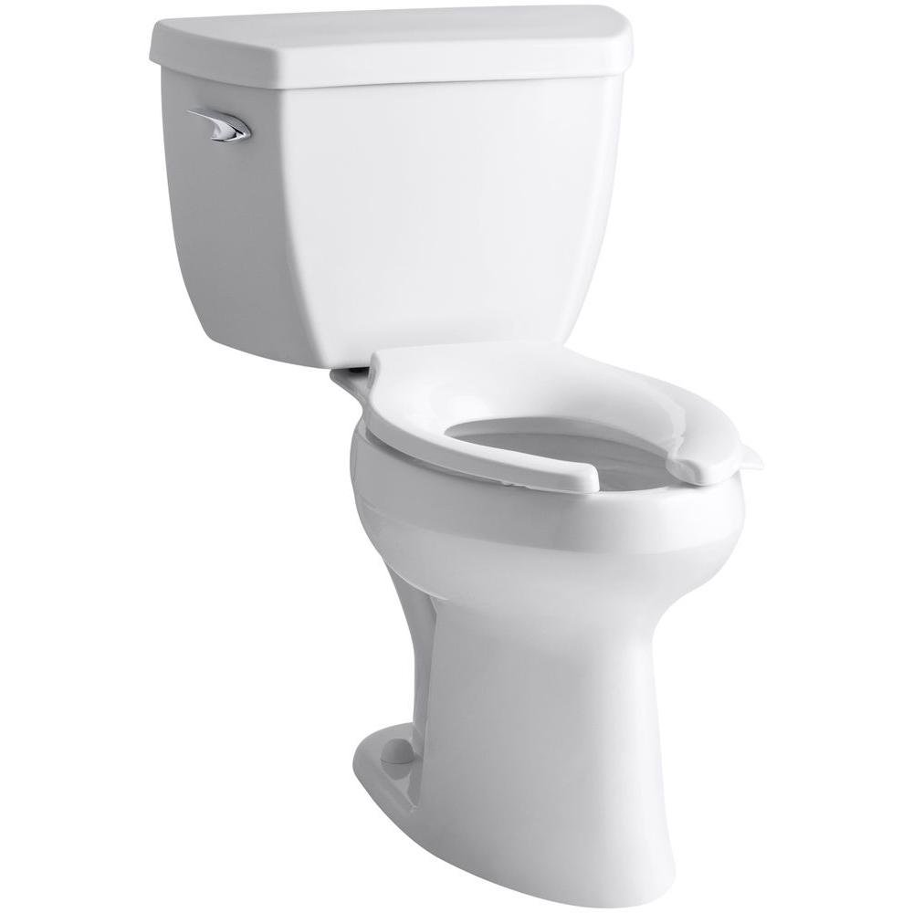 Kohler K-3493-T-0 Highline Classic Pressure Lite Comfort Height Elongated 1.4 gpf Toilet with Left-Hand Trip Lever and Tank Cover Locks, Less Seat, White