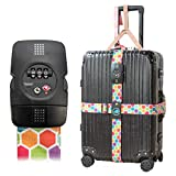 Luggage Straps with Lock,Adjustable NON-SLIP Travel Luggage Strap TSA Suitcase Belts Travel Accessories Bag Straps