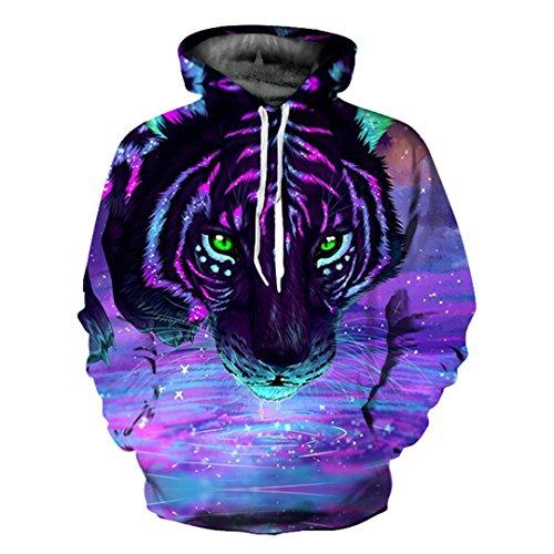 Purple Starry Sky Tiger Hoodies 3D Printed Sweatshirts Hooded Tracksuits Pocket Jackets Fashion Casual Novelty Coat