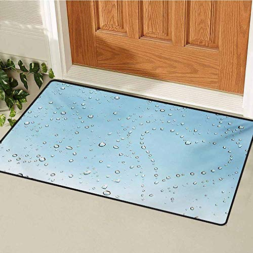 GUUVOR Turquoise Welcome Door mat Heart Shape Rain Droplets on Crystal Clear Window Glass Pure Love Valentines Romantic Door mat is odorless and Durable W23.6 x L35.4 Inch Blue