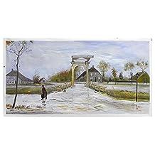 Vincent Van Gogh Drawbridge en Nieuw-Amsterdam pintura al óleo pintada a mano reproducción, arte paisajístico de pueblo, sala de estar grande arte de pared (20 x 40 pulgadas)
