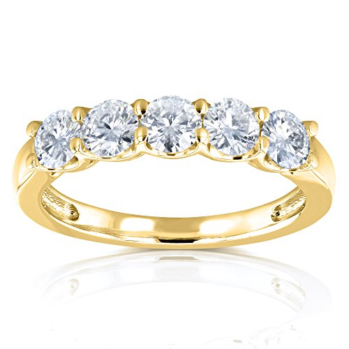 Five Stone 4/5 Carat TGW Round Brilliant Forever One Colorless Moissanite (DEF) Bridal Wedding Band in 14k Yellow Gold