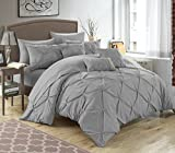 Bed in a Bag King Clearance Chic Home 10 Piece Hannah Pinch Pleated, ruffled and pleated complete King Bed In a Bag Comforter Set Silver With sheet set