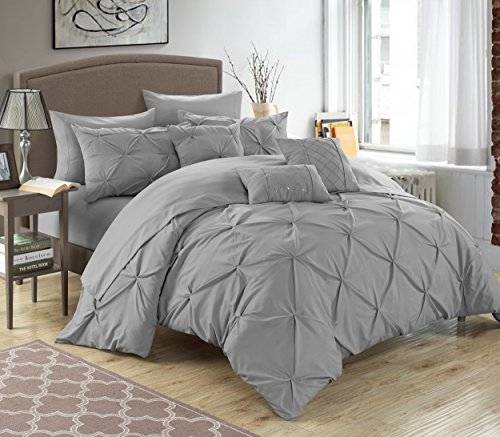Chic Home 10 Piece Hannah Pinch Pleated, ruffled and pleated complete Queen Bed In a Bag Comforter Set Silver With sheet (Control Pleated Skirt)