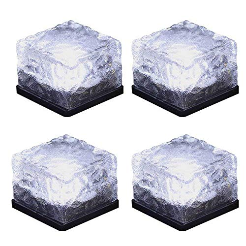 Solar Brick Light Solar Ice Light Ice Cube Lights Buried Light Paver for Garden Courtyard Pathway Patio Outdoor Decoration 4 Pack White (Upgraded Package) (Patio Round Pavers)