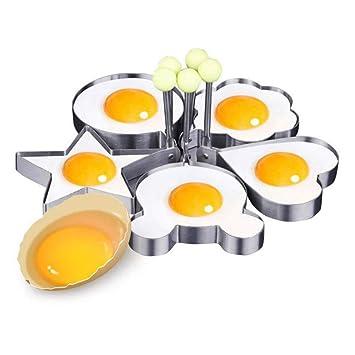 Molde de Huevo Frito de Acero Inoxidable, Richoose 5PCS Anillo Antiadherente para Huevos Fritos con asa de Seguridad Moldes de Panqueques, Gadgets de Cocina ...