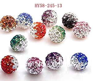 HYBEADS 50pcs/lot Gradient Colorful 10mm Crystal Multi Shamballa Beads Pave Clay Dico Ball for Shamballa Bracelet Necklace