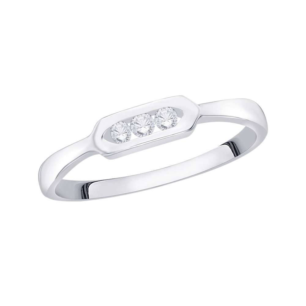 3 Diamond Promise Ring in Sterling Silver 1//10 cttw, G-H,I2-I3 Size-6.25