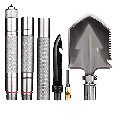 Outdoor Hiking Military Shovel Multitool, Folding Tactical Spade Shovel Emergency Survival Kit for Car with Detachable Silver Aluminium Handle, Collapsible Steel Backcountry Camping Shovel Tool from LIIIHOOO